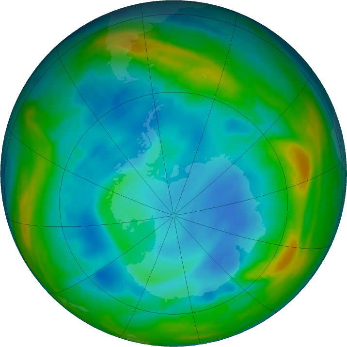 Antarctic ozone map for 15 July 2017
