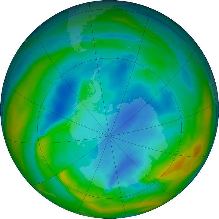 Antarctic ozone map for 18 July 2017