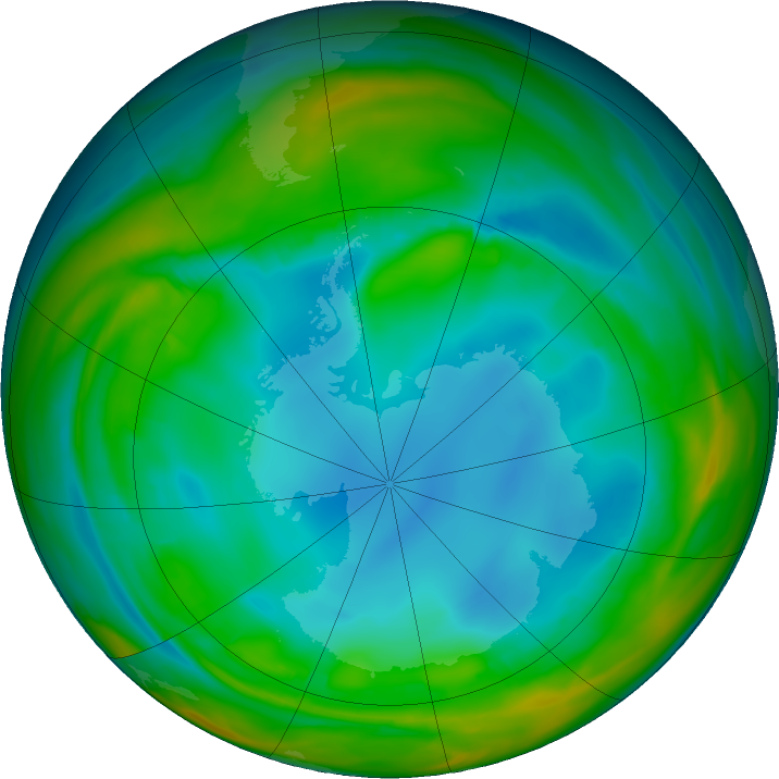 Antarctic ozone map for 20 July 2017