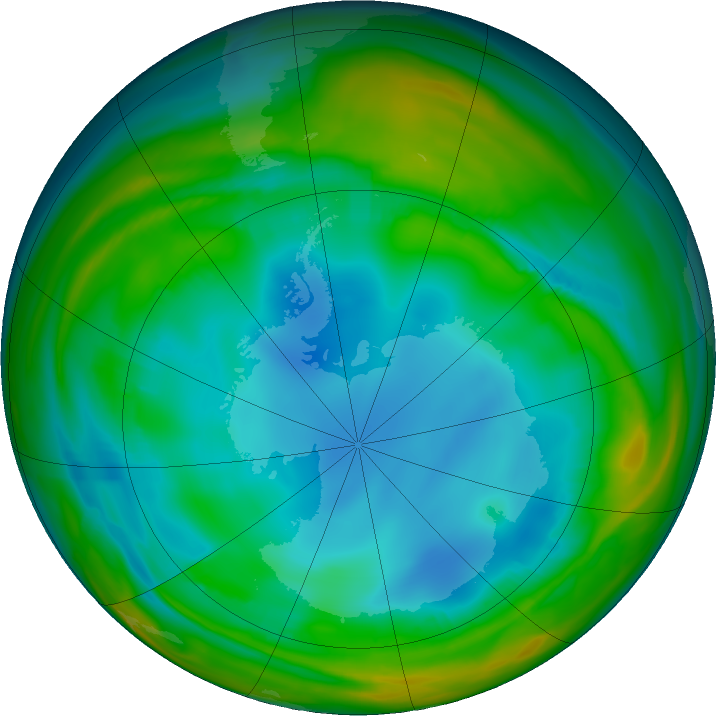 Antarctic ozone map for 21 July 2017