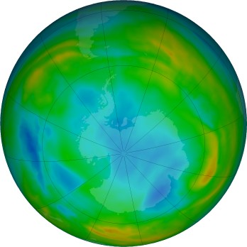 Antarctic ozone map for 2017-07-22