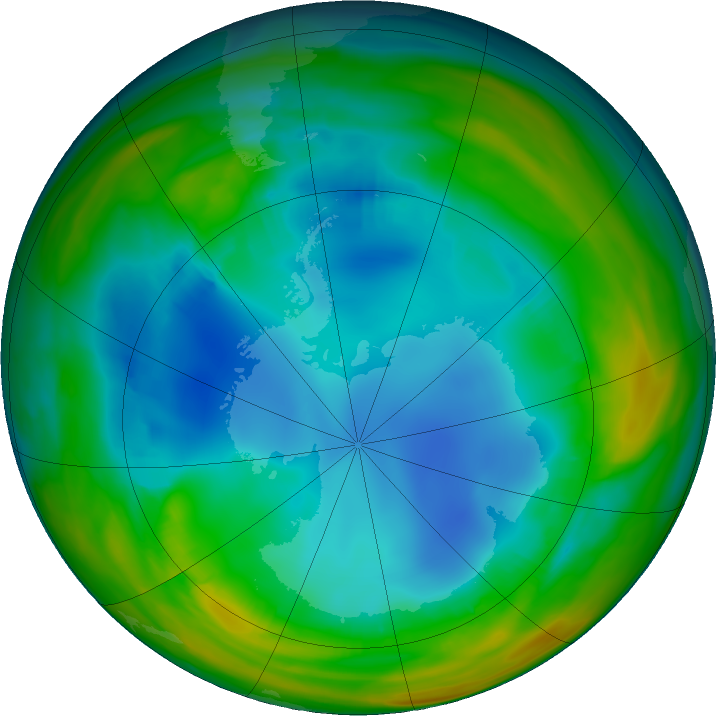 Antarctic ozone map for 26 July 2017