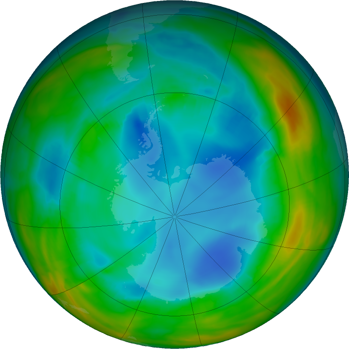 Antarctic ozone map for 28 July 2017