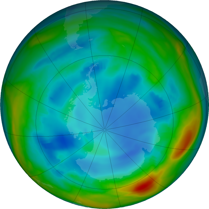 Antarctic ozone map for 30 July 2017