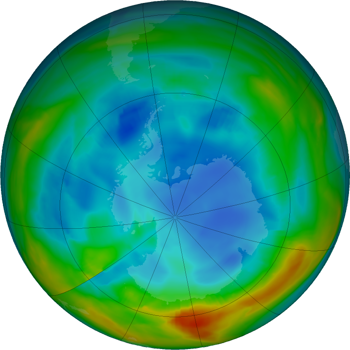 Antarctic ozone map for 31 July 2017