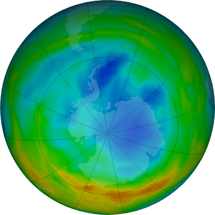 Antarctic ozone map for 01 August 2017
