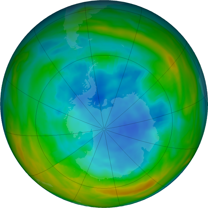 Antarctic ozone map for 02 August 2017