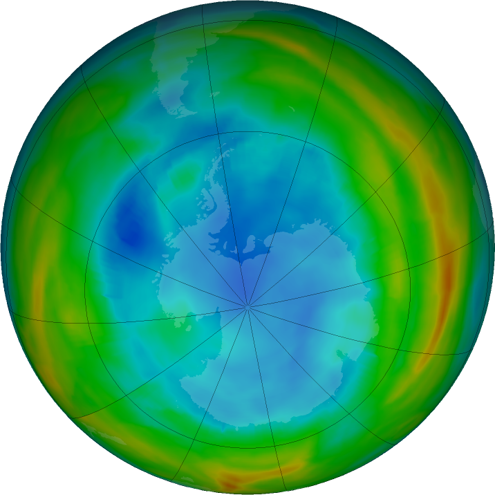 Antarctic ozone map for 04 August 2017