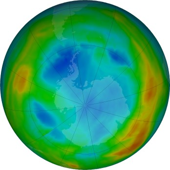 Antarctic ozone map for 2017-08-06
