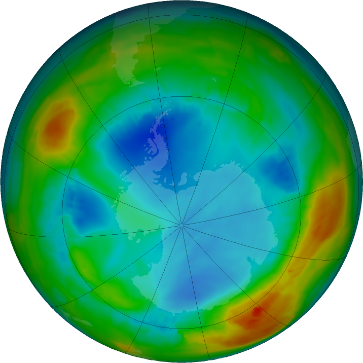 Antarctic ozone map for 07 August 2017