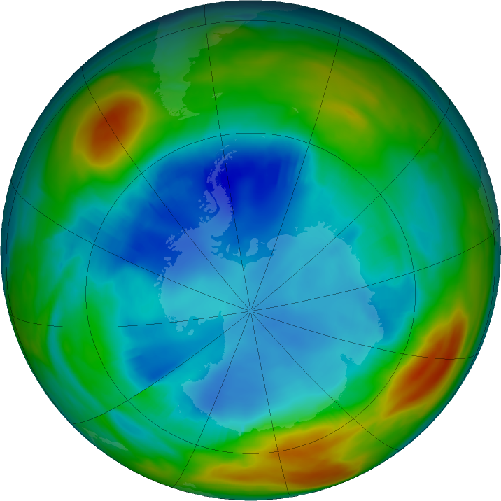 Antarctic ozone map for 08 August 2017