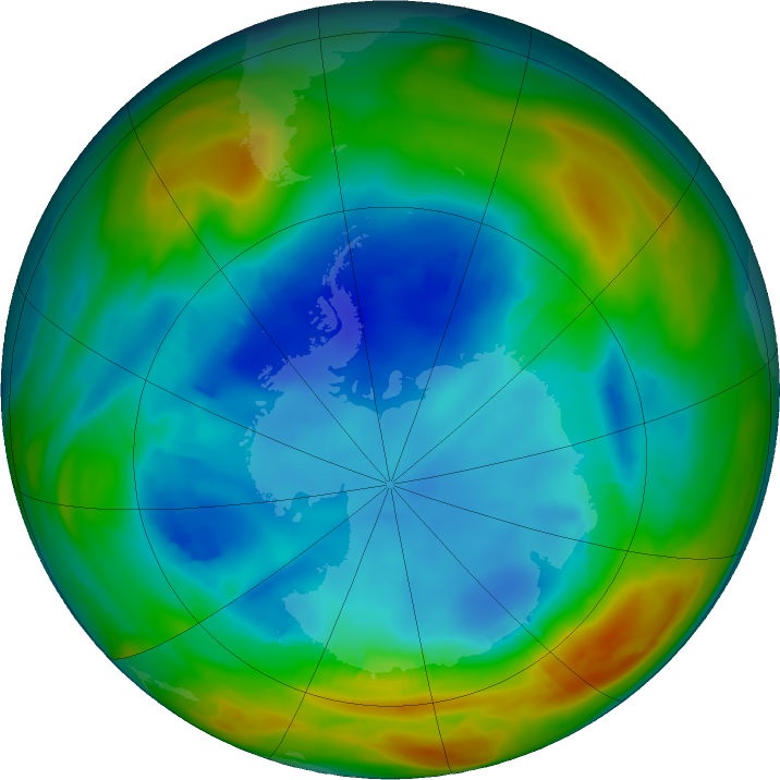 Antarctic ozone map for 09 August 2017