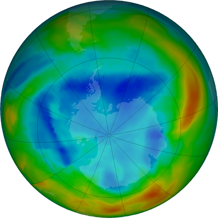 Antarctic ozone map for 11 August 2017