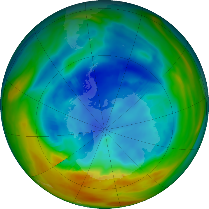 Antarctic ozone map for 14 August 2017