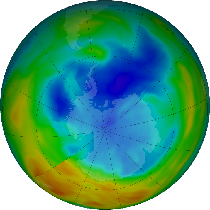 Antarctic ozone map for 15 August 2017