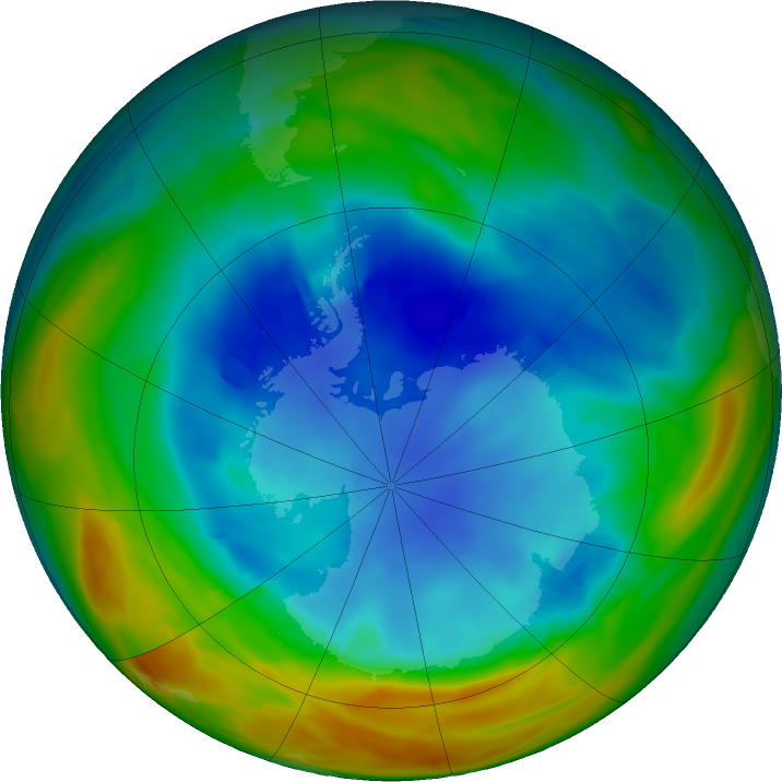 Antarctic ozone map for 16 August 2017