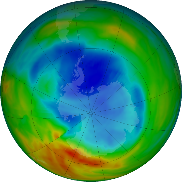 Antarctic ozone map for 18 August 2017