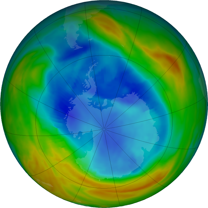Antarctic ozone map for 20 August 2017