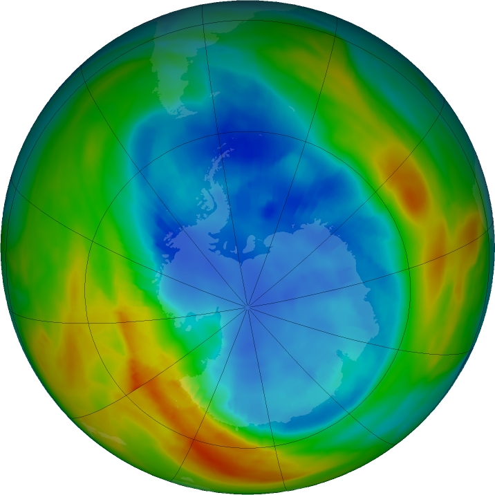 Antarctic ozone map for 22 August 2017