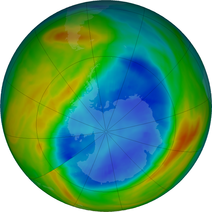 Antarctic ozone map for 27 August 2017
