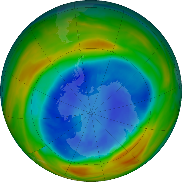 Antarctic ozone map for 29 August 2017