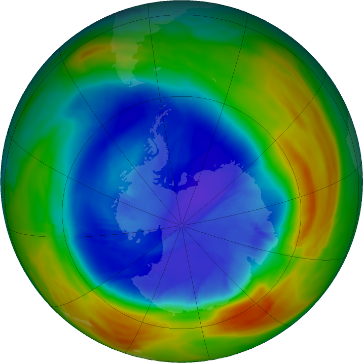 Antarctic ozone map for 08 September 2017