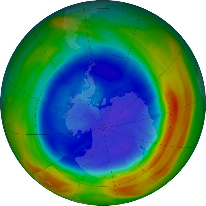 Antarctic ozone map for 09 September 2017