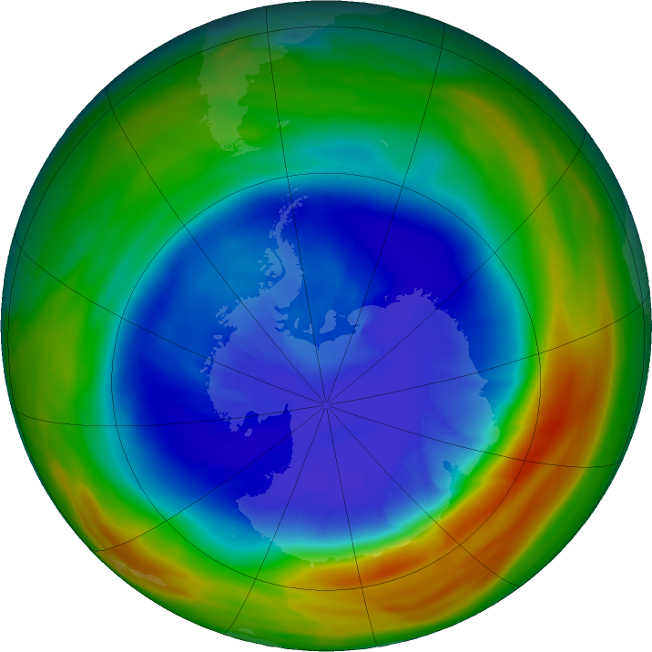 Antarctic ozone map for 10 September 2017
