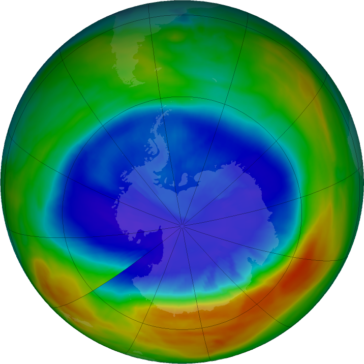 Antarctic ozone map for 11 September 2017