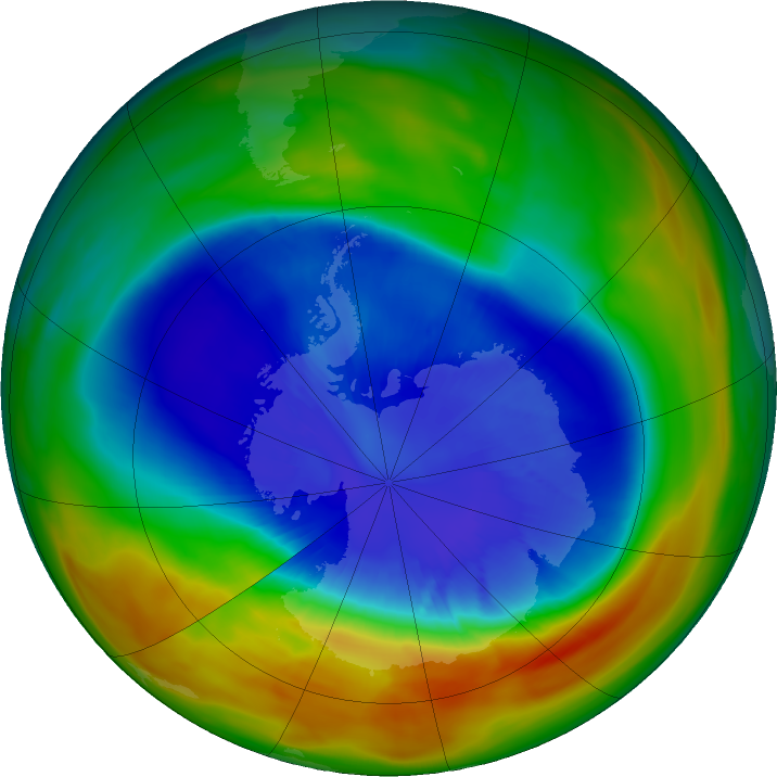Antarctic ozone map for 12 September 2017