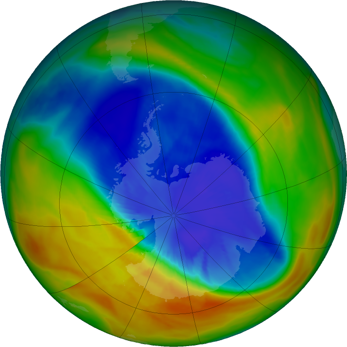 Antarctic ozone map for 14 September 2017
