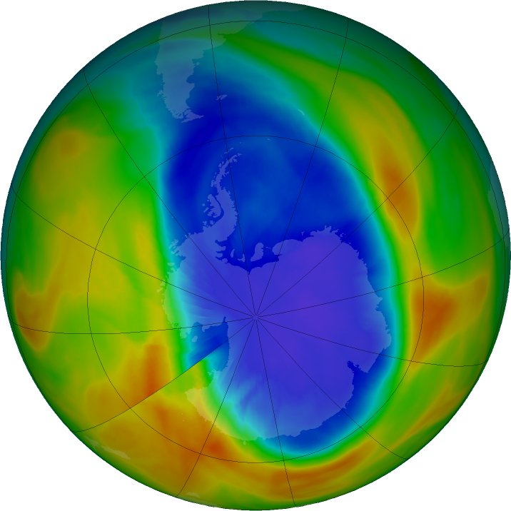 Antarctic ozone map for 16 September 2017
