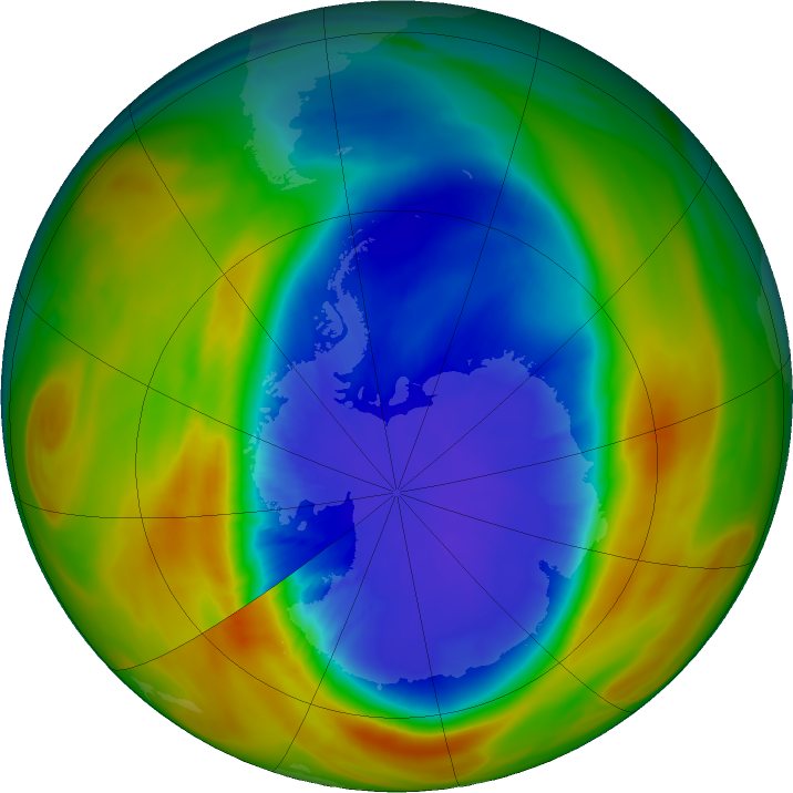 Antarctic ozone map for 17 September 2017