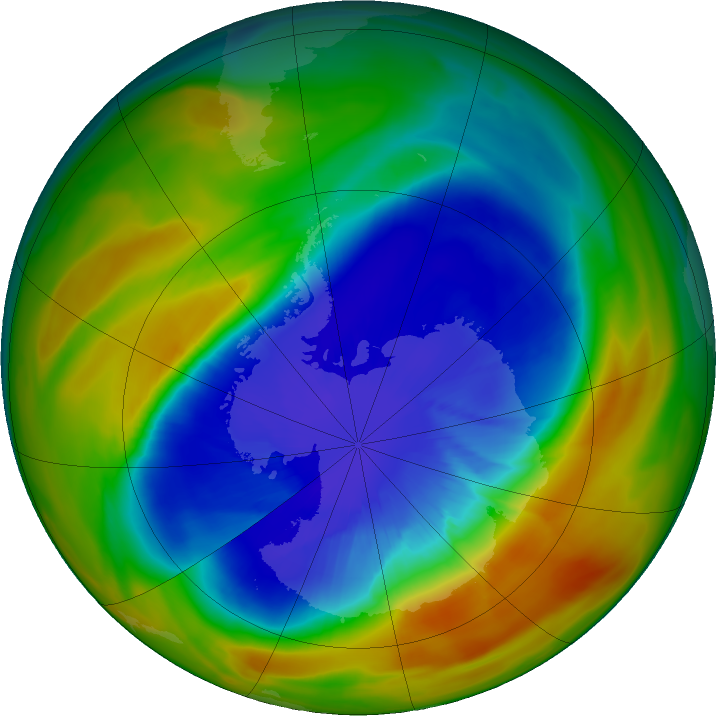 Antarctic ozone map for 19 September 2017