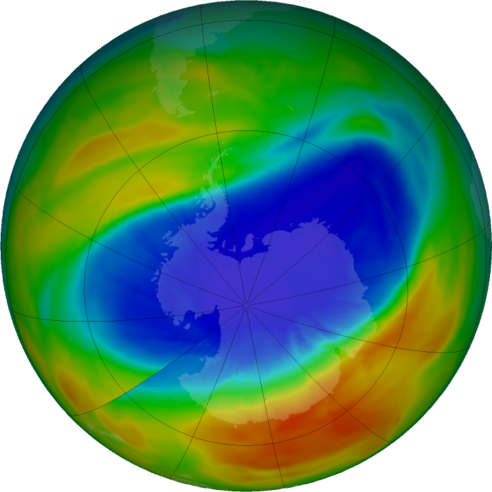 Antarctic ozone map for 20 September 2017