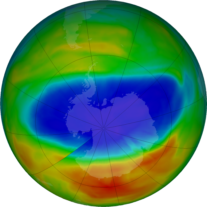Antarctic ozone map for 21 September 2017