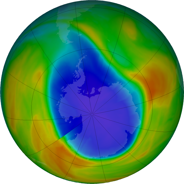 Antarctic ozone map for 25 September 2017