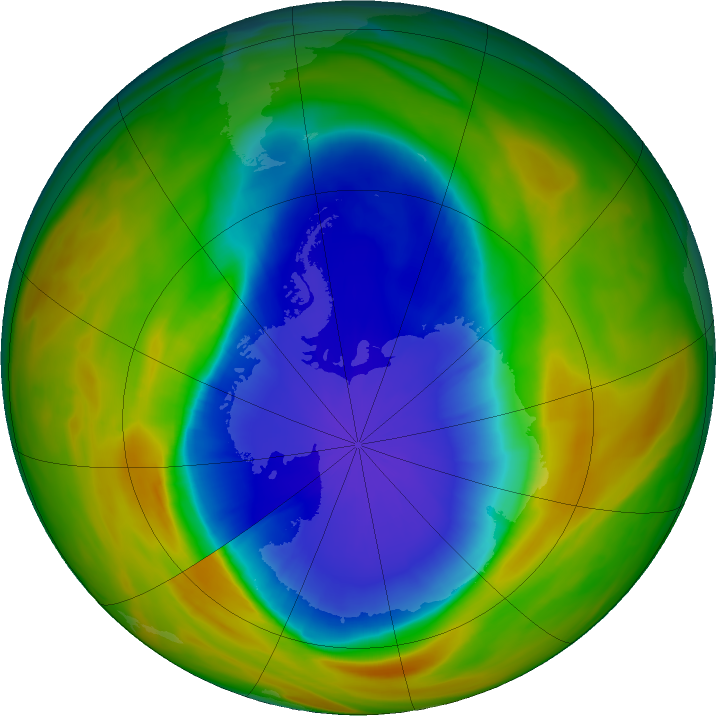 Antarctic ozone map for 27 September 2017