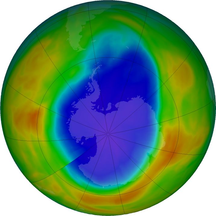 Antarctic ozone map for 28 September 2017