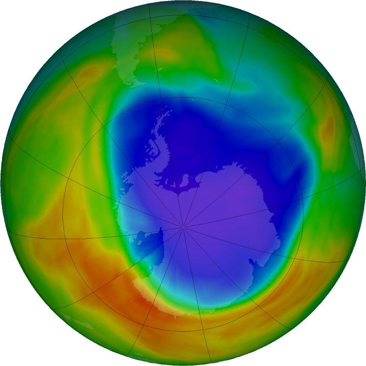 Antarctic ozone map for 03 October 2017