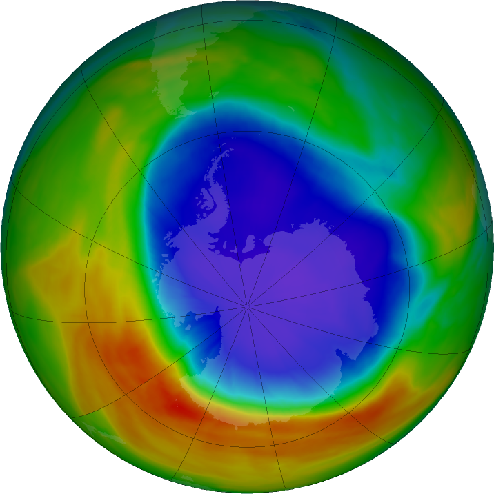 Antarctic ozone map for 04 October 2017