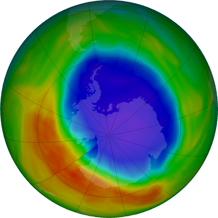 Antarctic ozone map for 05 October 2017