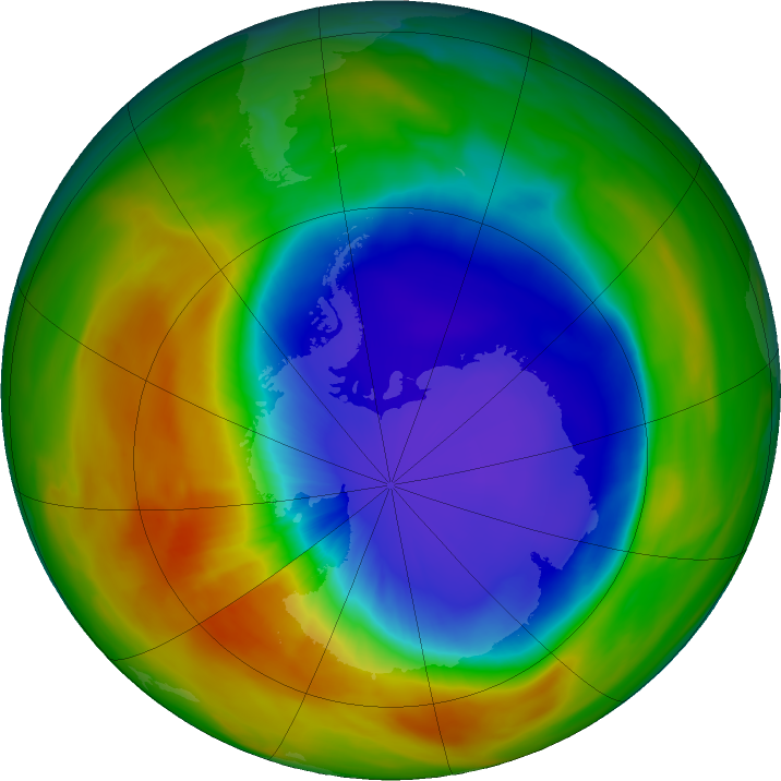 Antarctic ozone map for 06 October 2017