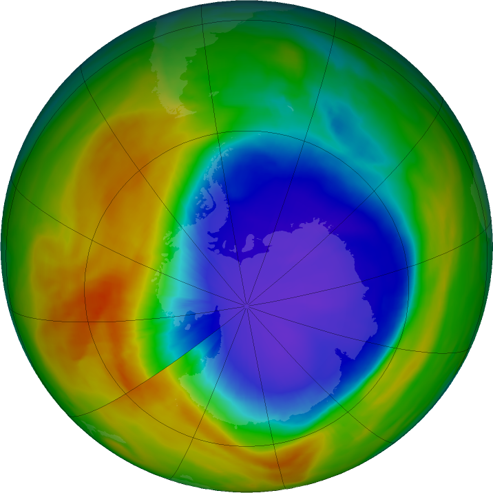 Antarctic ozone map for 07 October 2017