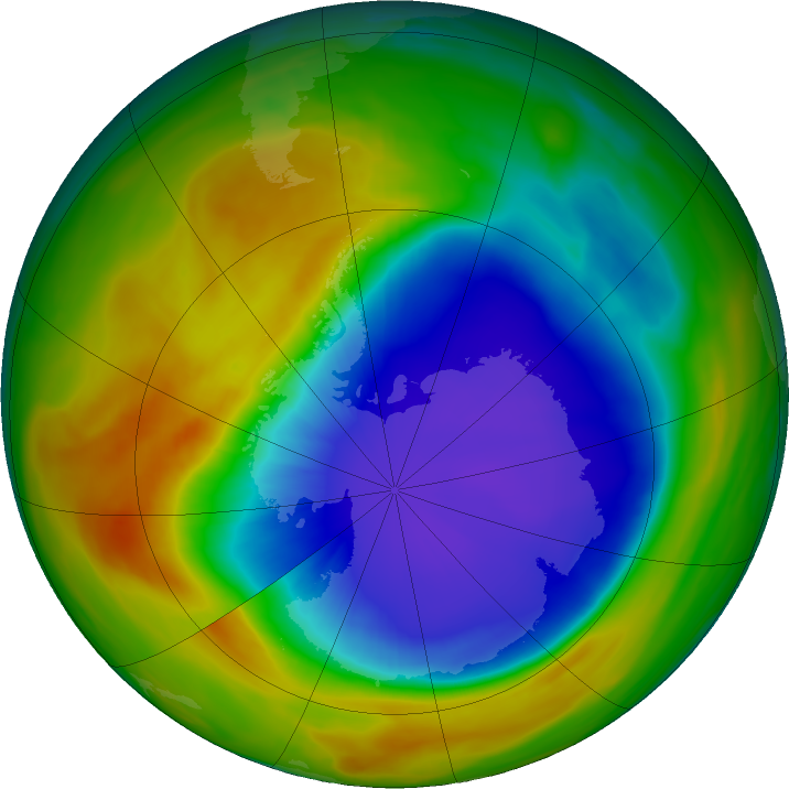 Antarctic ozone map for 08 October 2017