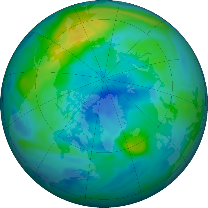 Arctic ozone map for 09 October 2017