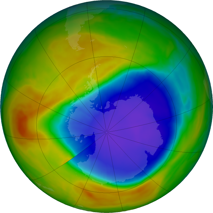 Antarctic ozone map for 09 October 2017