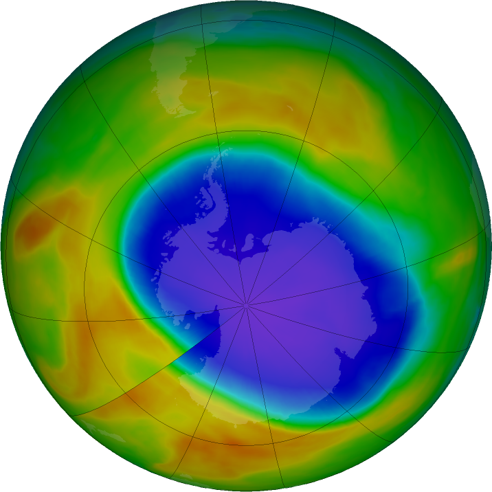 Antarctic ozone map for 12 October 2017