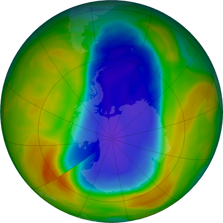 Antarctic ozone map for 16 October 2017