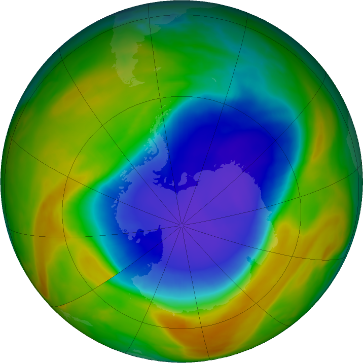 Antarctic ozone map for 18 October 2017
